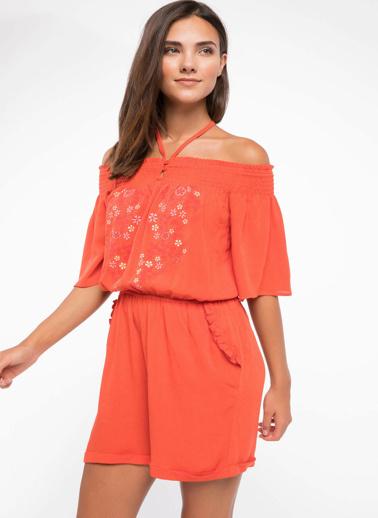 DeFacto Etnik Nakış Detaylı Beli Lastikli Straplez Elbise Kırmızı